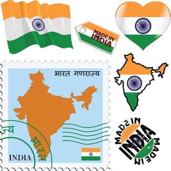 set of different symbols in national colours of India