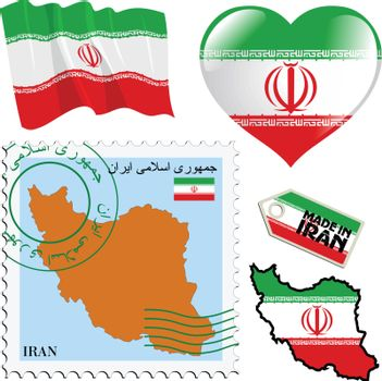 set of different symbols in national colours of Iran