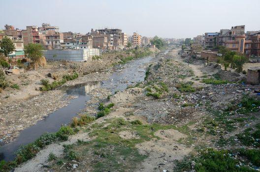 Polluted slum area near sacred Bagmati river in Kathmandu, Nepal