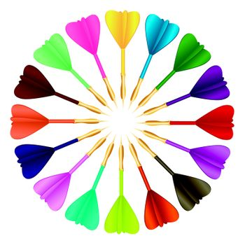 Vector colored darts in a circle on white background