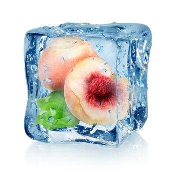 Ice cube and peach