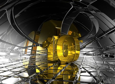number ten in abstract futuristic space - 3d illustration