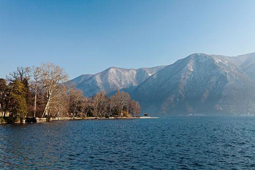 Photo of a beautiful sunny day at the lake, Lugano - Ticino - Switzerland