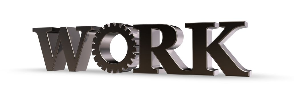 the word metal with gearwheel - 3d illustration