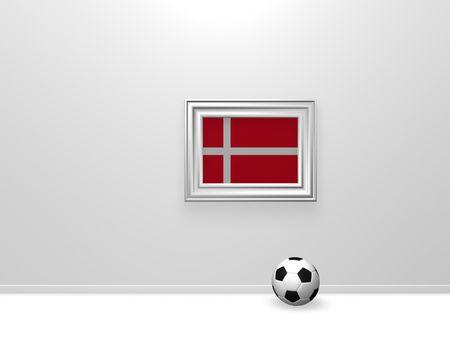 soccerball and denmark flag in frame - 3d illustration