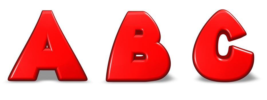 red  letters a, b and c on white background - 3d illustration
