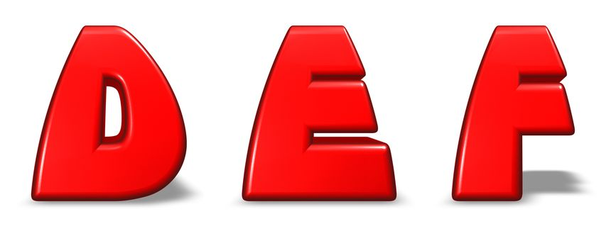 red  letters d, e and f on white background - 3d illustration