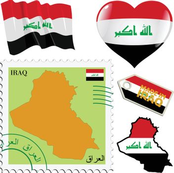 set of different symbols in national colours of Iraq