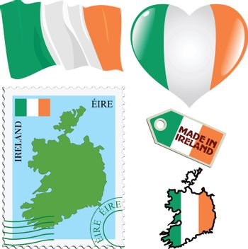 set of different symbols in national colours of Ireland