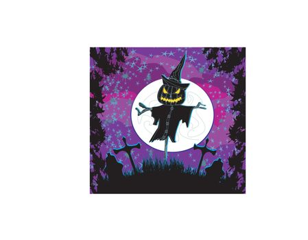 creepy scarecrow in a night scene