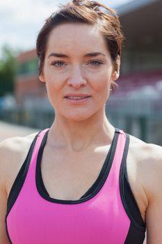 Woman in pink sportswear