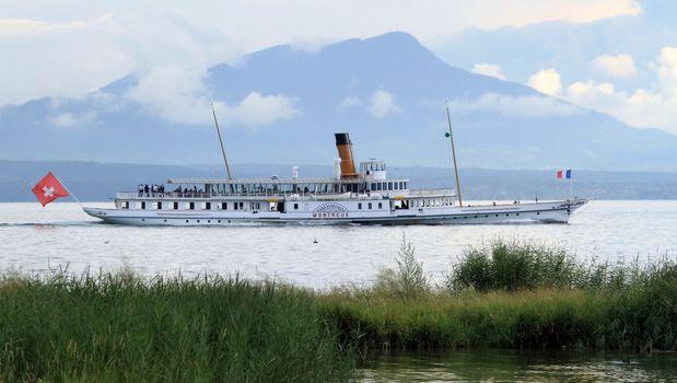 "Old steamboat ""Montreux"", Geneva lake, Switzerland"