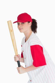 Woman holding a bat