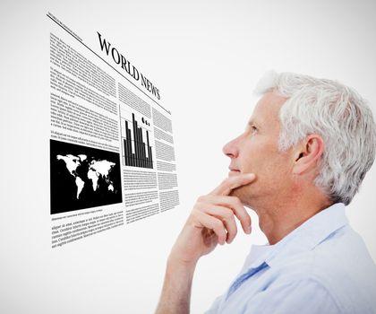 Man reading holographic world news