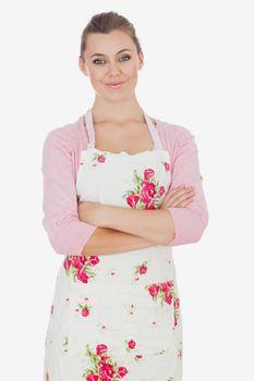Portrait of woman wearing apron
