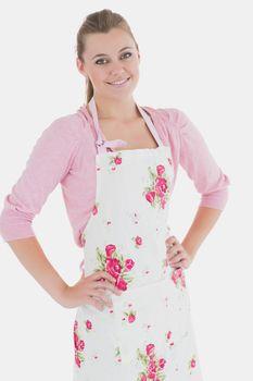 Beautiful maid wearing apron