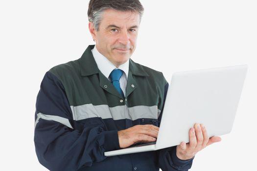 Repairman with laptop