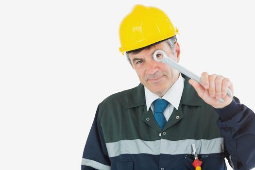 Repairman holding wrench