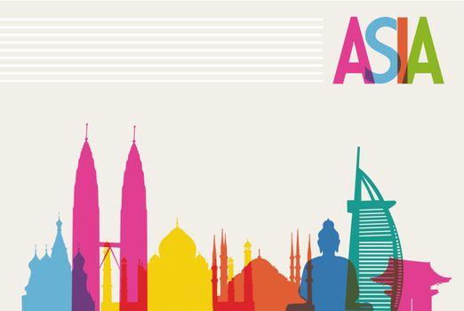 Diversity monuments of Asia, famous landmark colors transparency