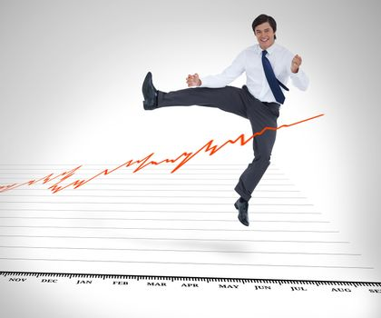 Businessman jumping over the curve