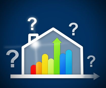 Question mark above energy efficient house graphic