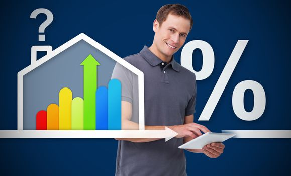 Smiling man working with tablet with energy efficient house graphicg with question and percentage ma