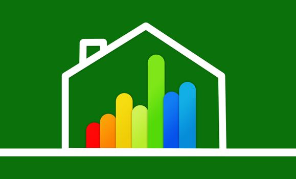 Energy efficient house graphic against a background