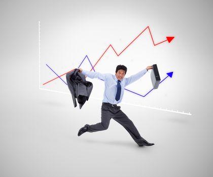 Businessman running against a curves