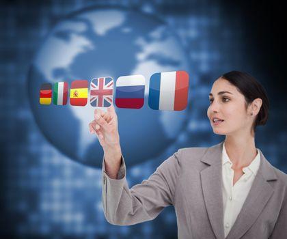 Businesswoman choosing flag of Great Britain