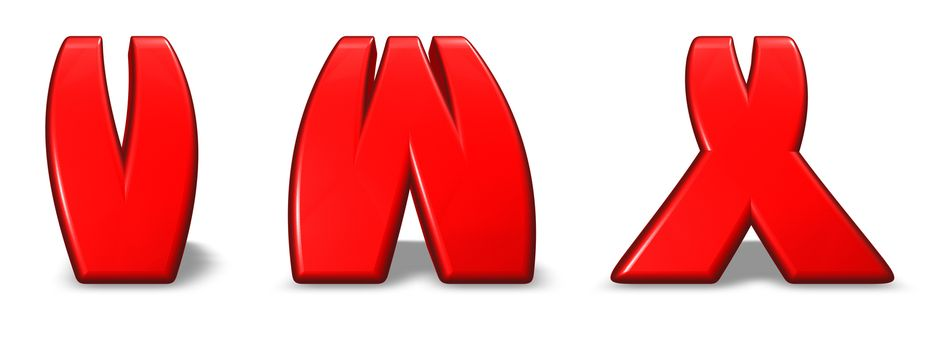 red  letters v, w and x on white background - 3d illustration