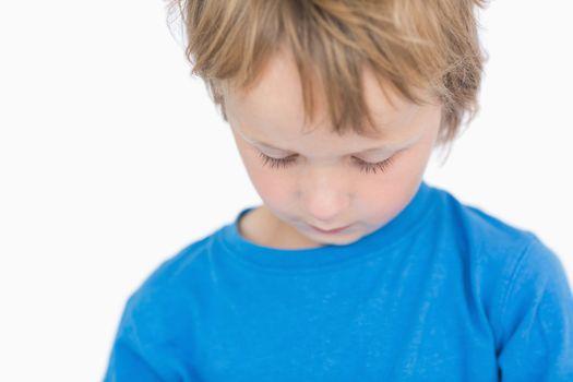 Closeup of a sad young boy