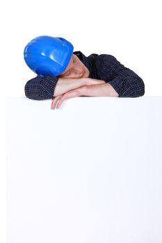 Builder taking a nap