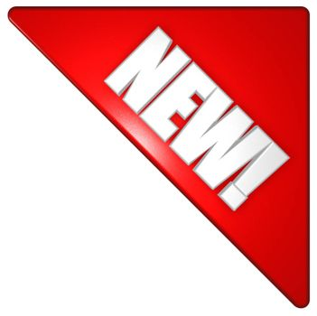 red corner with the word new - 3d illustration