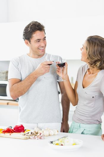 Couple toasting each other