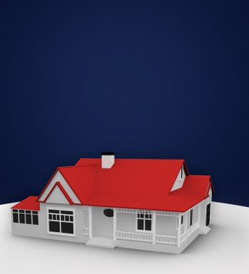Red house standing against a blue background