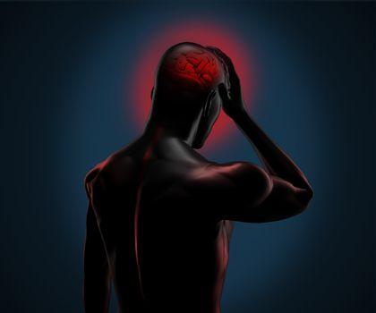 Digital figure having a headache