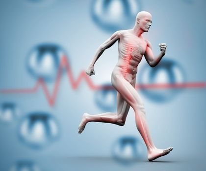 Digital skeleton running on a digital background