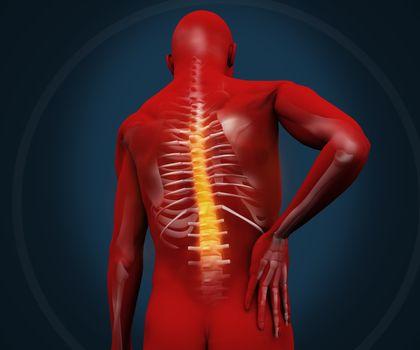 Red digital figure having pain
