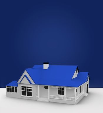House standing against blue background
