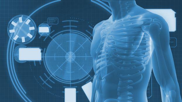 Digital body on a digital background