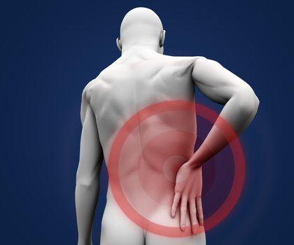 Human figure having pain