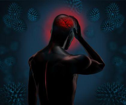 Strong digital figure having a headache