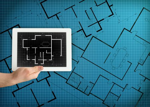 Tablet displaying blueprint