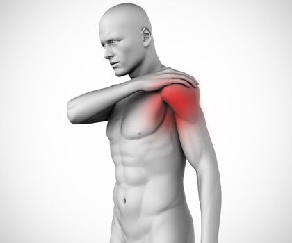 Highlighted shoulder pain of human figure