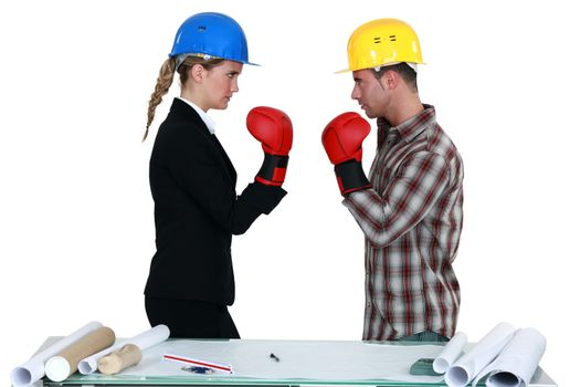 Architect and builder boxing