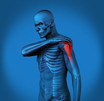 Highlighted shoulder pain of blue human