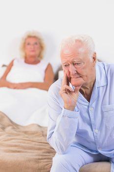 Upset old couple