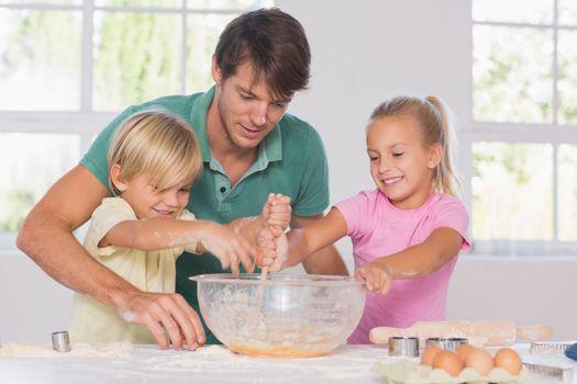 Children mixing the dough