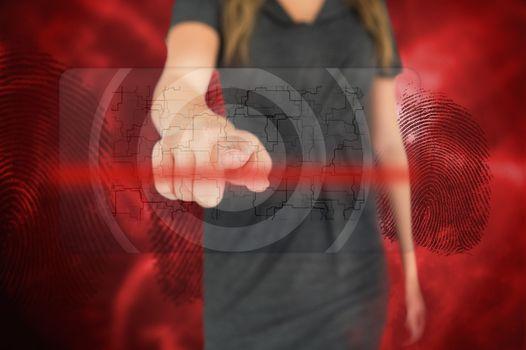 Businesswoman touching fingerprint touchscreen