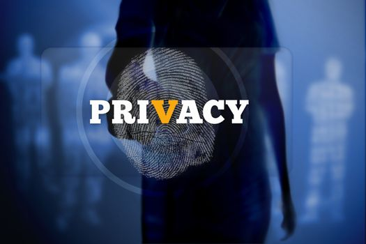 Silhouette of woman touching privacy button with fingerprint